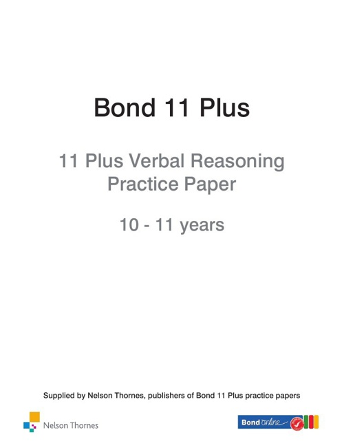 11+ Verbal Reasoning Practice Paper