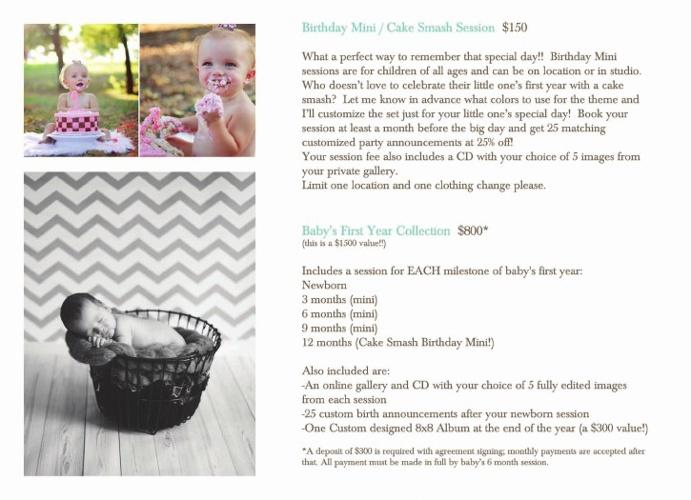 Maternity, Newborn and Birth Story pricing