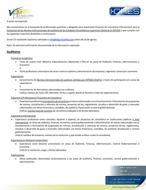 Solicitud de Consultores Proyecto Internacional-VHG Consulting