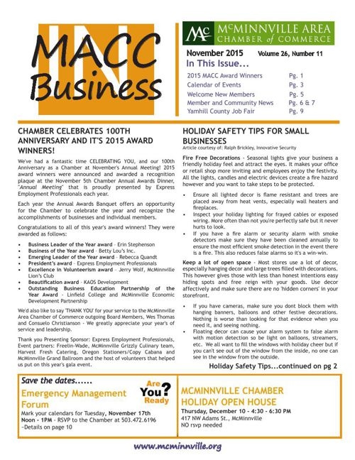 MACC in Business NOVEMBER 2015