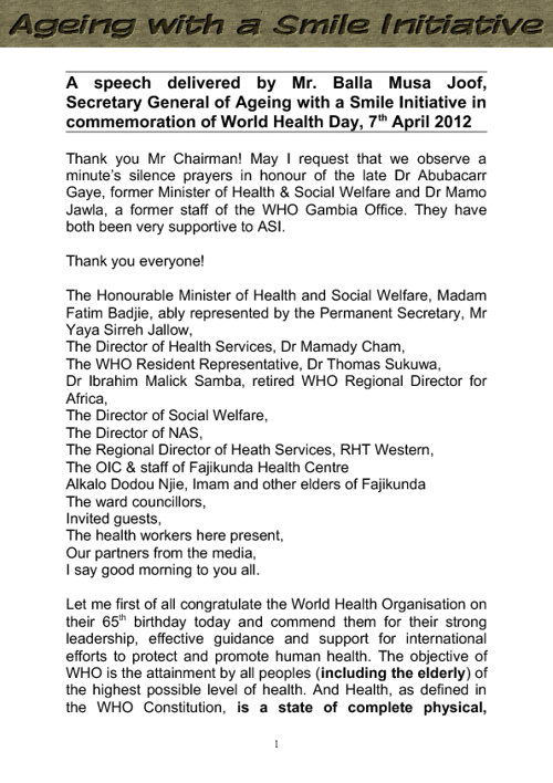 ASI's Statement on World Health Day 2012
