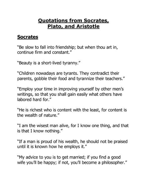 Quotations from Socrates, Plato, Aristotle