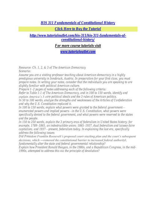 HIS 311 Fundamentals of Constitutional History
