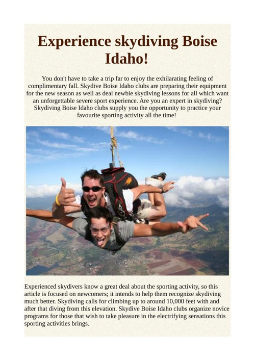 Experience skydiving Boise Idaho!