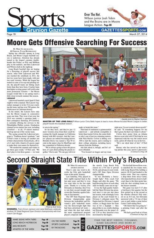 Gazette Sports   March 27, 2014