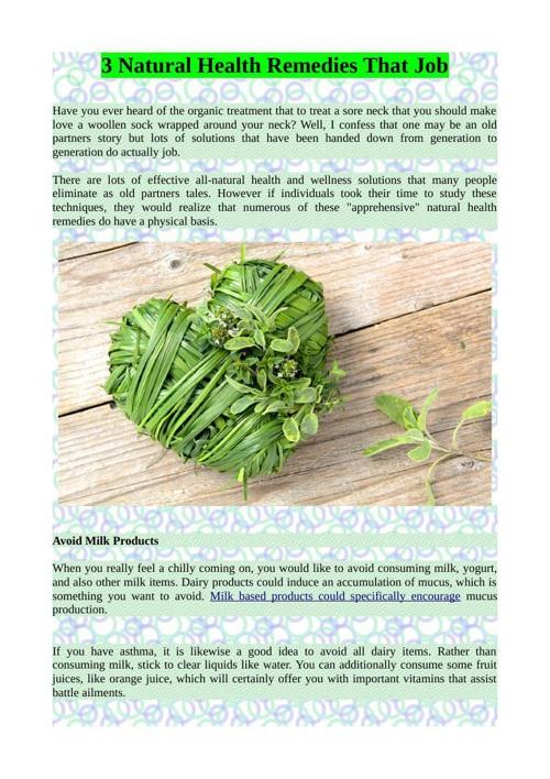 3 Natural Health Remedies That Job