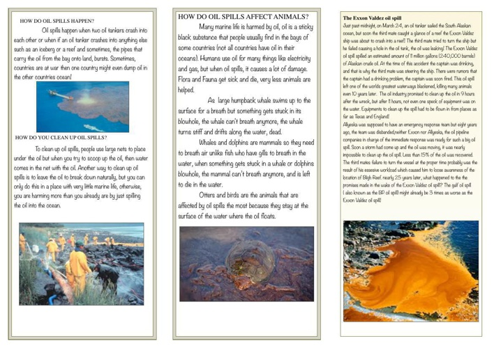 Surabhi's Social Issue Brochure about Oil spills