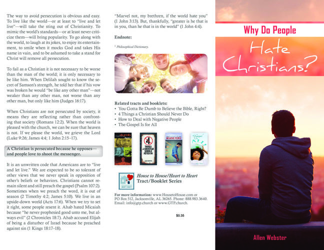 Tract-0331 Why Do People Hate Christians
