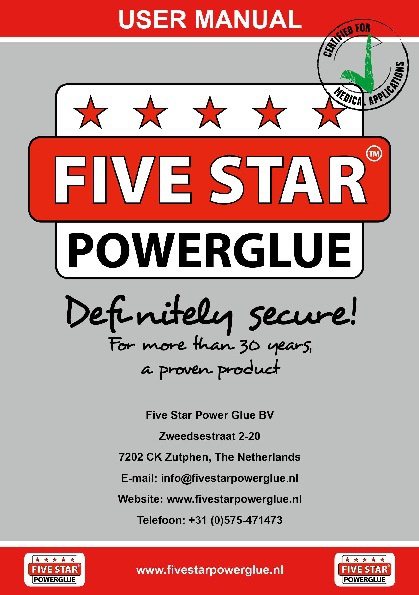 Five Star Power Glue - User Manual