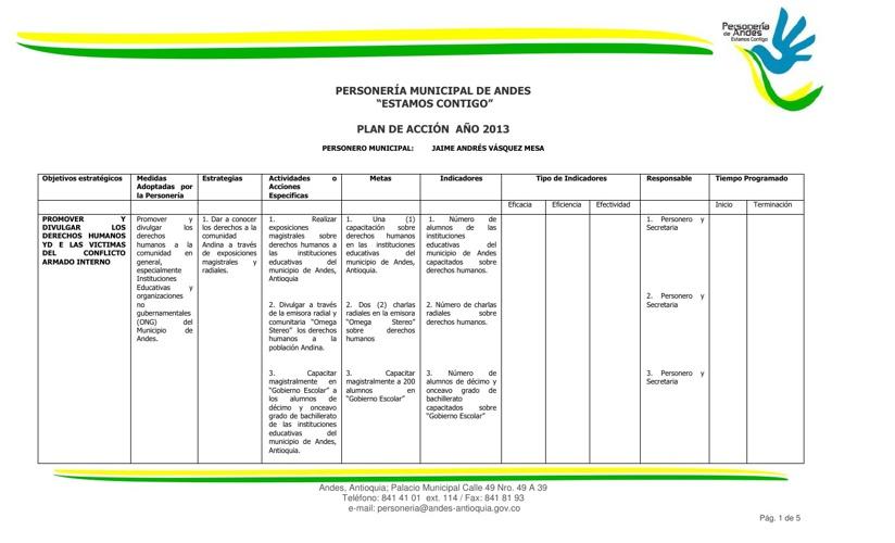 Personería Municipal de Andes ha formulado el presente plan