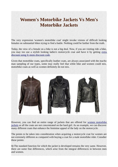 Women's Motorbike Jackets Vs Men's Motorbike Jackets