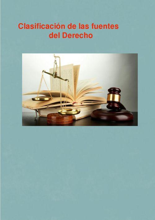 Clasificación de las Fuentes del Derecho
