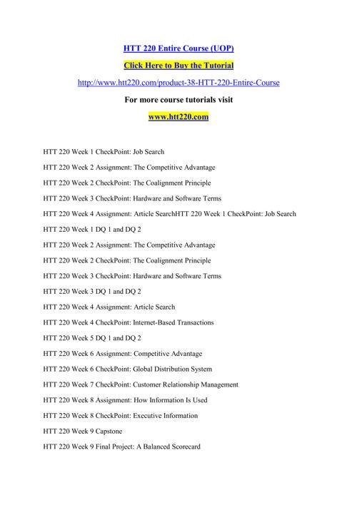 HTT 220 Entire Course (UOP)