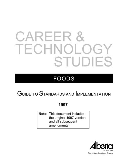 CTS Foods Curriculum