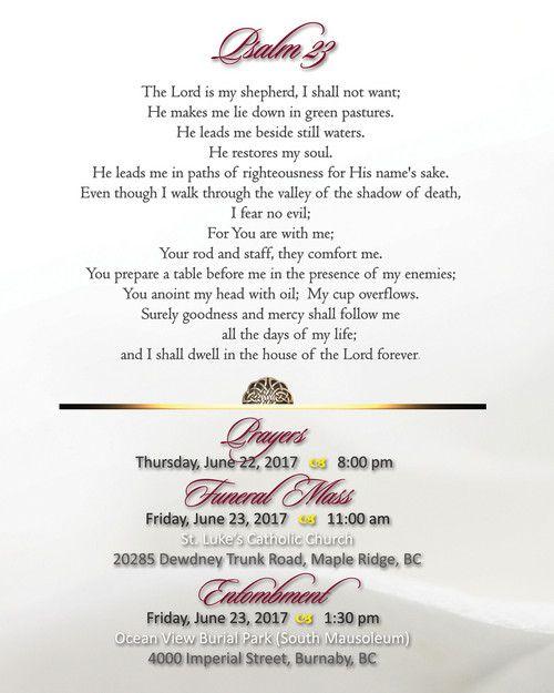 Memorial Card for Mary Caterina Bertucci