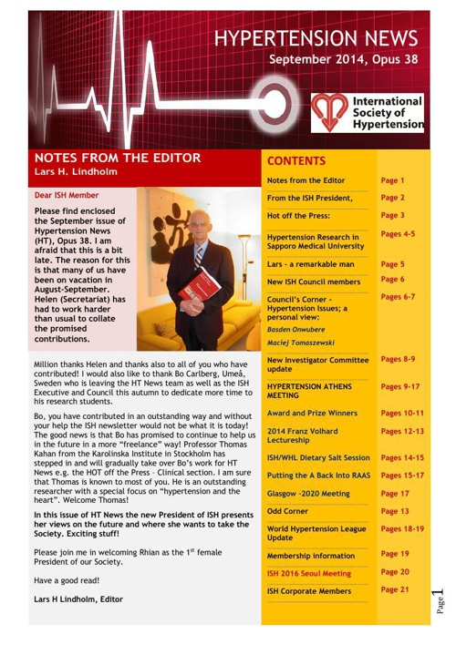 September 2014 Hypertension News