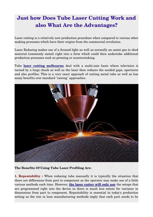 Just how Does Tube Laser Cutting Work and also What Are the Adva