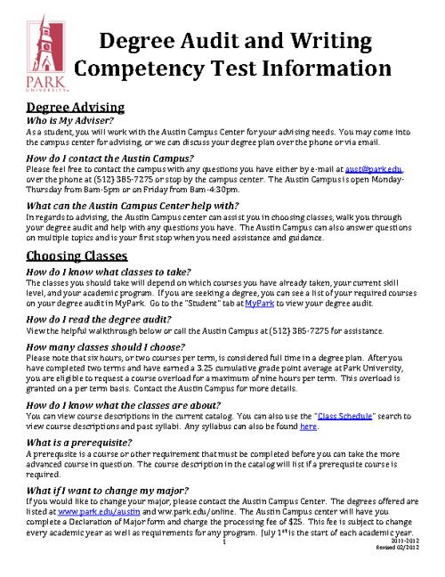 Park University Austin Campus Student Guide