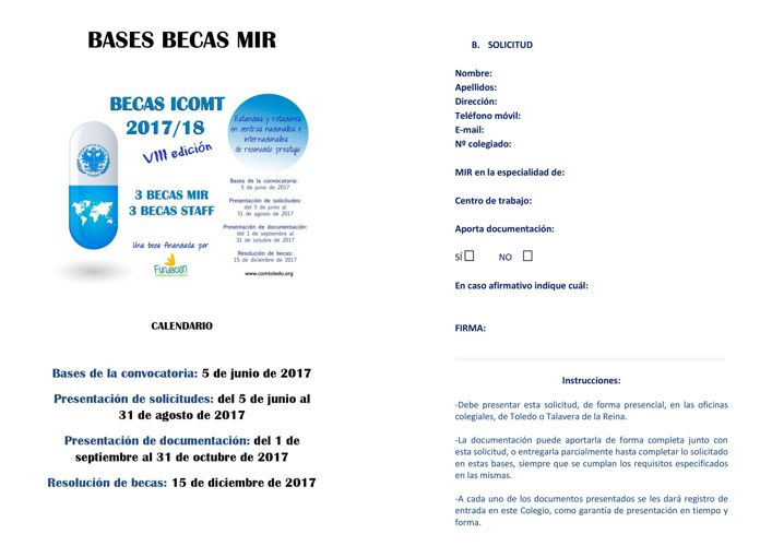 Bases Becas MIR 2017 18 ICOMT simple cara