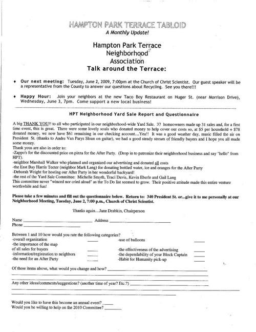 HPT Newsletter June 2009