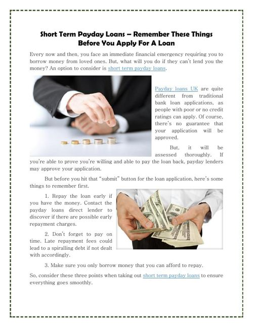 Short Term Payday Loans – Remember These Things Before You Apply