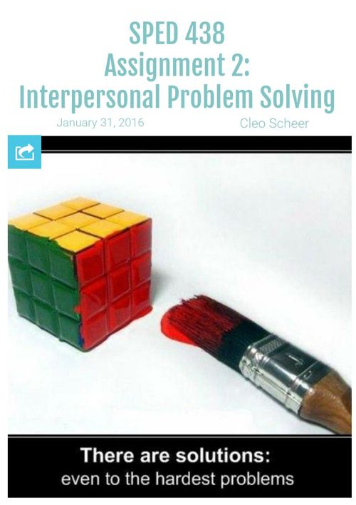 SPED 438 Assignment 2: Interpersonal Problem Solving