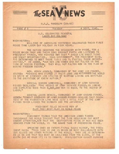 04 SEP 1945 SEA V NEWS