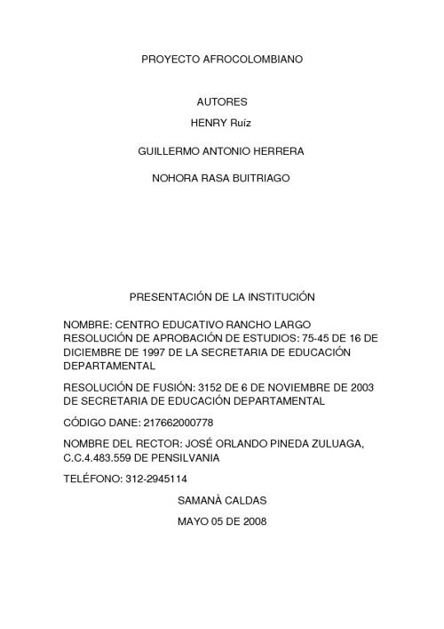 PROYECTO AFROCOLOMBIANO CENTRO EDUCATIVO RANCHOLARGO