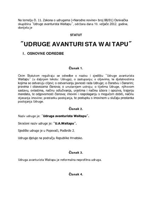 Statut Udruge avanturista Waitapu