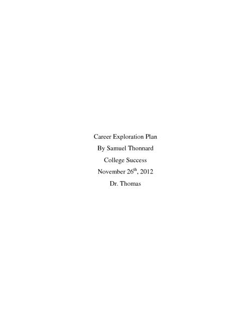Career Exploration Project Description