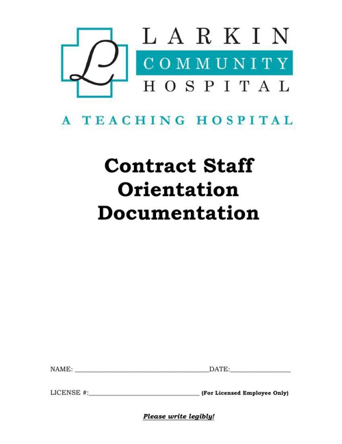 General Orientation Documentation Packet - Contract Staff