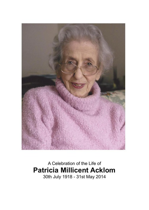 4 Order of Service for Patricia Acklom