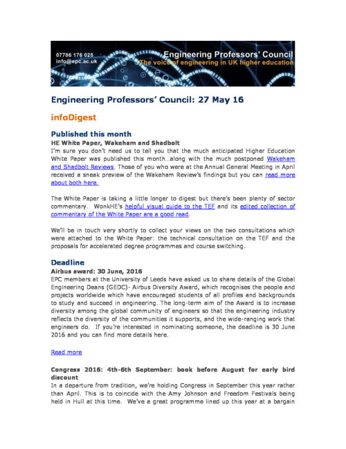 Engineering Professors' Council infoDigest 27 May 16