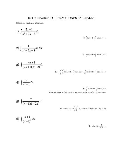 Integrales por Fracciones Parciales