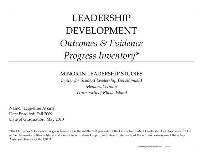 Leadership Inventory Outcomes