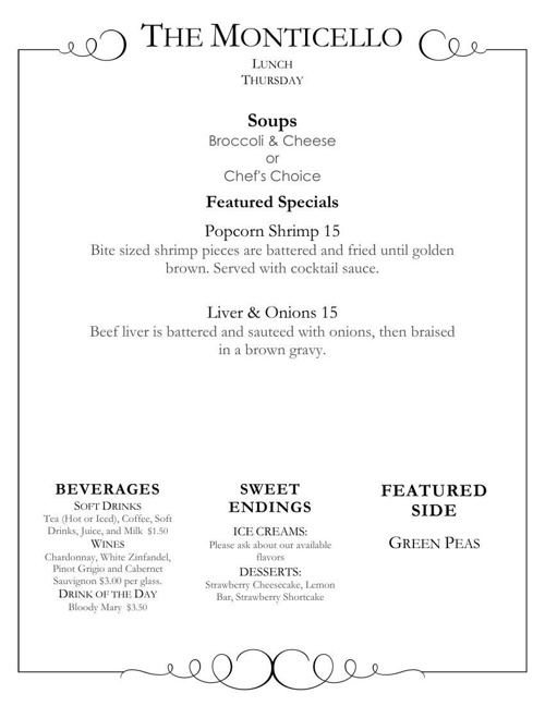 Monticello Daily Specials and Sunday Brunch