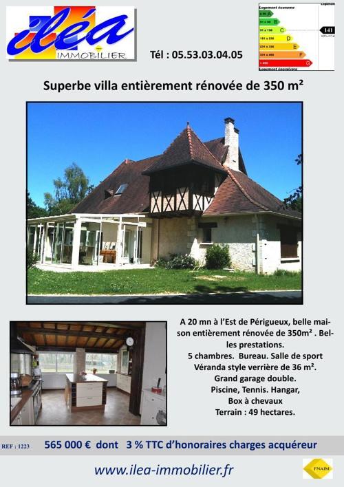 Reference 1223 - Maison entièrement rénovée - Terrain : 49 hecta