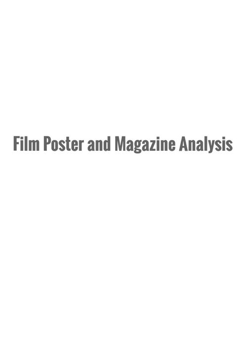 Film and poster analysis