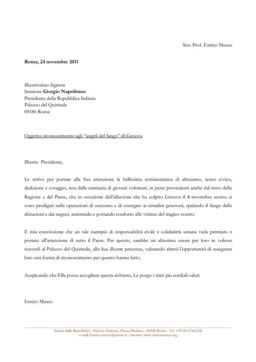 La lettera di Enrico Musso a Giorgio Napolitano del 24 novembre