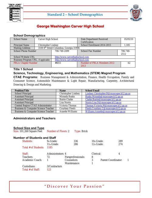 Standard 2 - School Demographics Revised