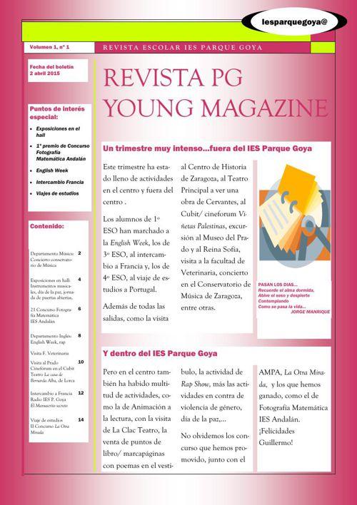 REVISTA  PG YOUNG MAGAZINE/ 2º TRIMESTRE IES PARQUE GOYA ZARAGOZ