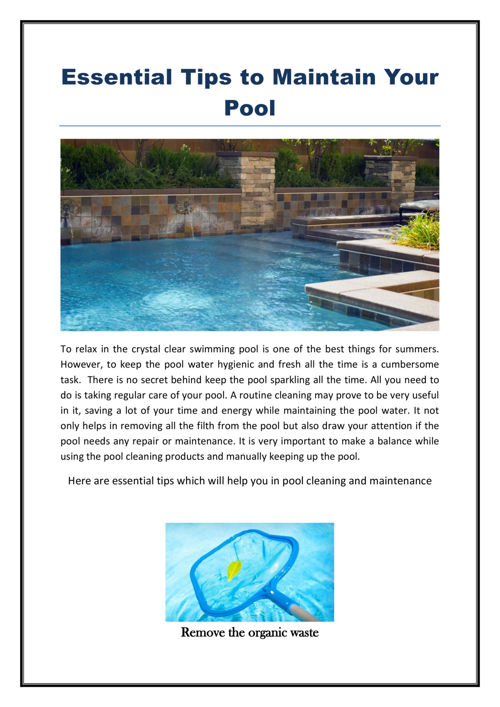 Essential tips to maintain your pool