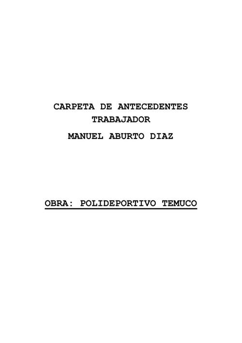Antecedentes Trabajador  Manuel Aburto D.