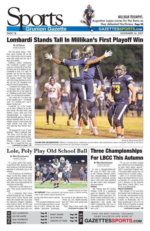 Grunion Sports | November 16, 2017