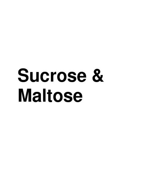 Sucrose&Maltose
