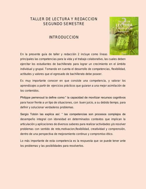 TALLER DE LECTURA Y REDACCION 2 SEGUNDO SEMESTRE