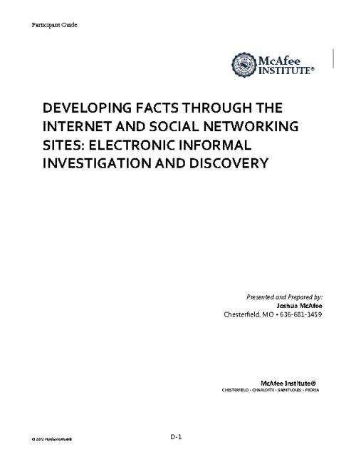 Social Media Investigations Manual