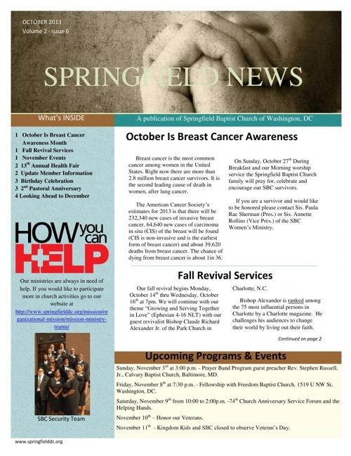 October 2013 Springfield Newsletter