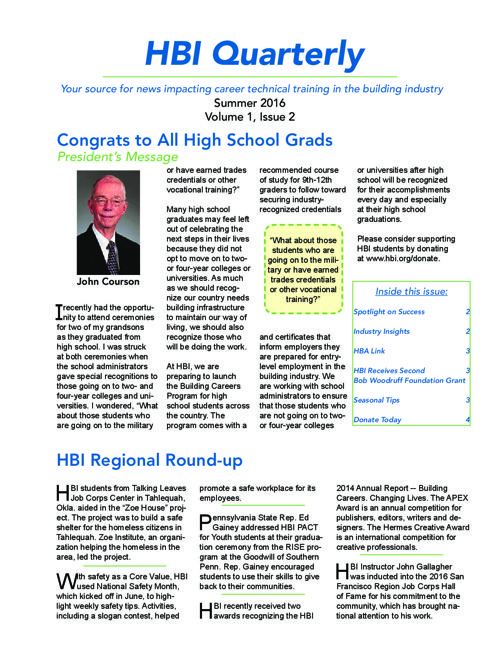HBI Summer Newsletter