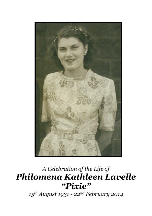4 Order of Service for Philomena Kathleen Lavelle